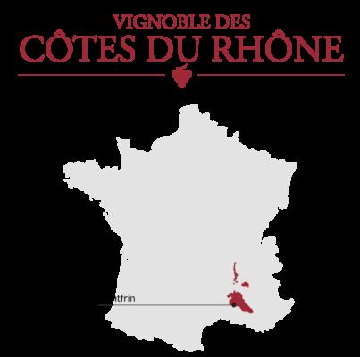 Carte du vignoble des Côtes-du-Rhône